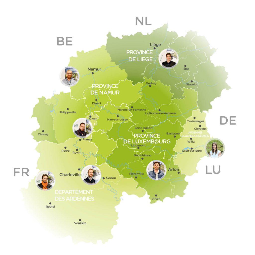 Carte des référents à la marque Ardenne par territoire