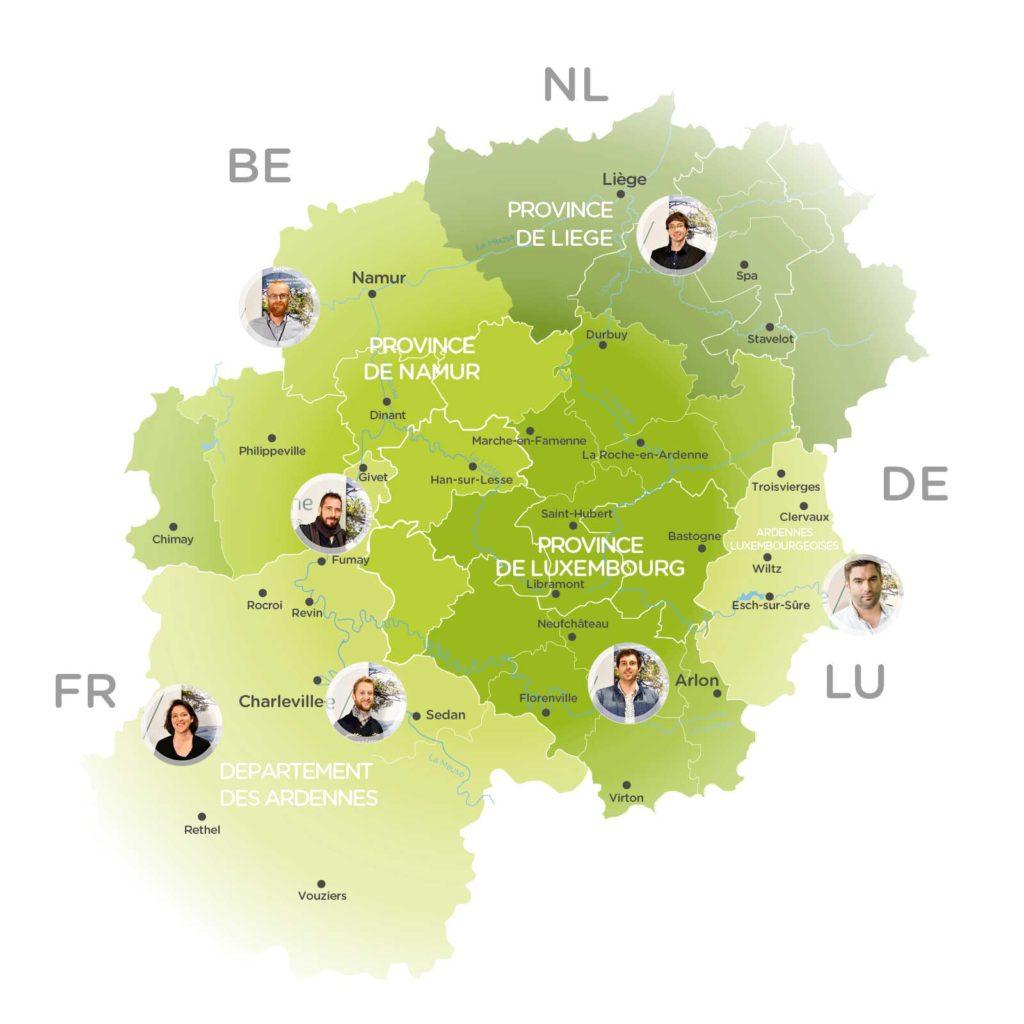 Carte des référent à la marque Ardenne 2019